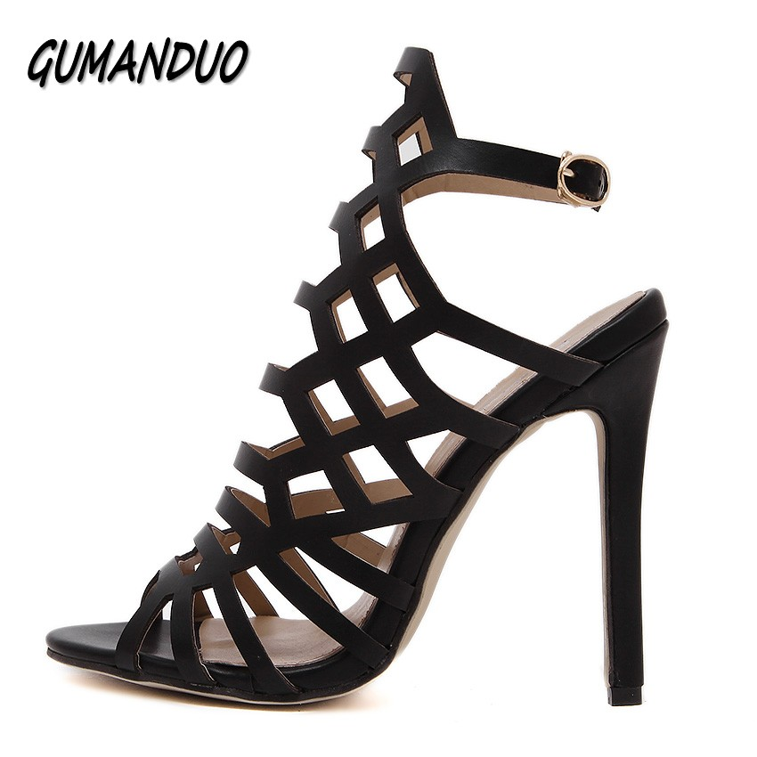 GUMANDUO cut-outs women high heels sandals shoes woman party wedding ladies pumps ankle strap gladiator buckle slingback shoes new women gladiator sandals ladies pumps high heels shoes woman clear transparent t strap party wedding dress thick crystal heel