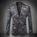 Дракон Печати Нотч Мужчины Slim Fit Пиджаки Две Кнопки Старинные Китайский Стиль Jaqueta Masculina Плюс Размер Партии Необычные Пиджаки