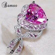 Bamos великолепное кольцо с розовым цирконием и сердечком, роскошное обручальное кольцо принцессы для женщин, модное свадебное ювелирное изделие из белого золота