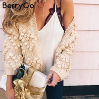 BerryGo Hairball cute knitted women sweater Casual long sleeve pink female cardigan 2018 Autumn winter loose outerwear coats