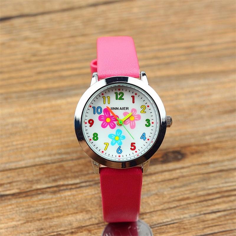 Little Girls Beauty Flowers Dial Quartz Watch High Quality Kids Casual Leather Dress Watch  Child Dress Gift El Reloj Clock