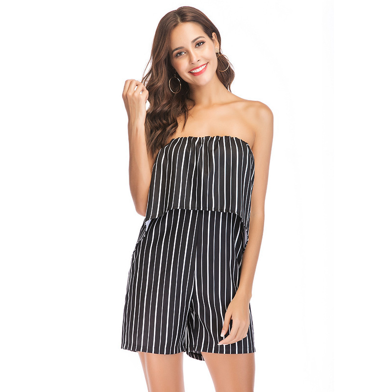 MUXU Summer striped sexy backless body woman clothes short ruffle jumpsuit strapless womens clothing casual streetwear jumpsuits in Rompers from Women 39 s Clothing