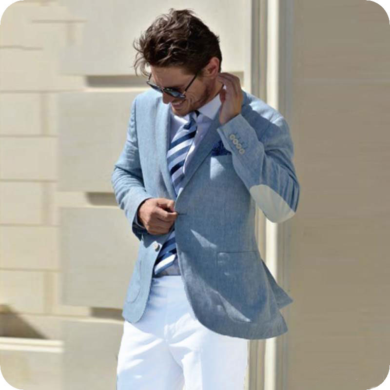 Blue Men Prom Suits Wedding Elbow Patches Groom Tuxedos Slim Terno Masculino Male Blazers 2Pieces Coat White Pants Costume Homme