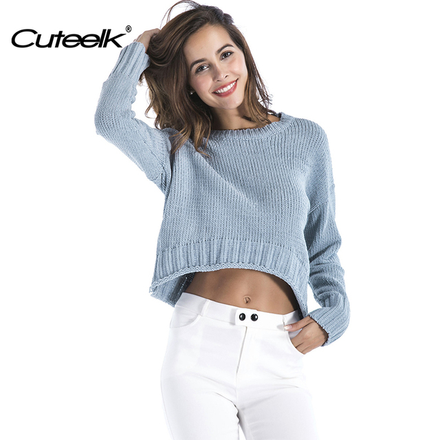 Cuteelk Winter Sexy Solid Blue Womens Pullovers Sweaters Long Sleeve Female  Bare Midriff Jumper O-