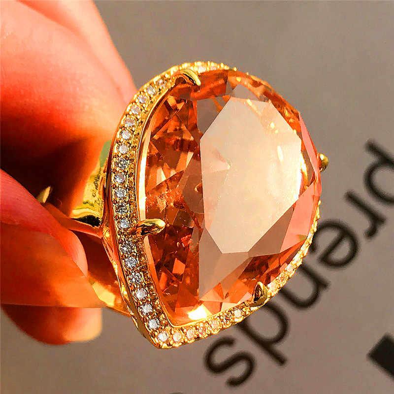Luxury ชายหญิงแชมเปญหินแหวนคริสตัลแฟชั่น 18KT สีเหลืองทองเครื่องประดับ Vintage สำหรับบุรุษและสตรี