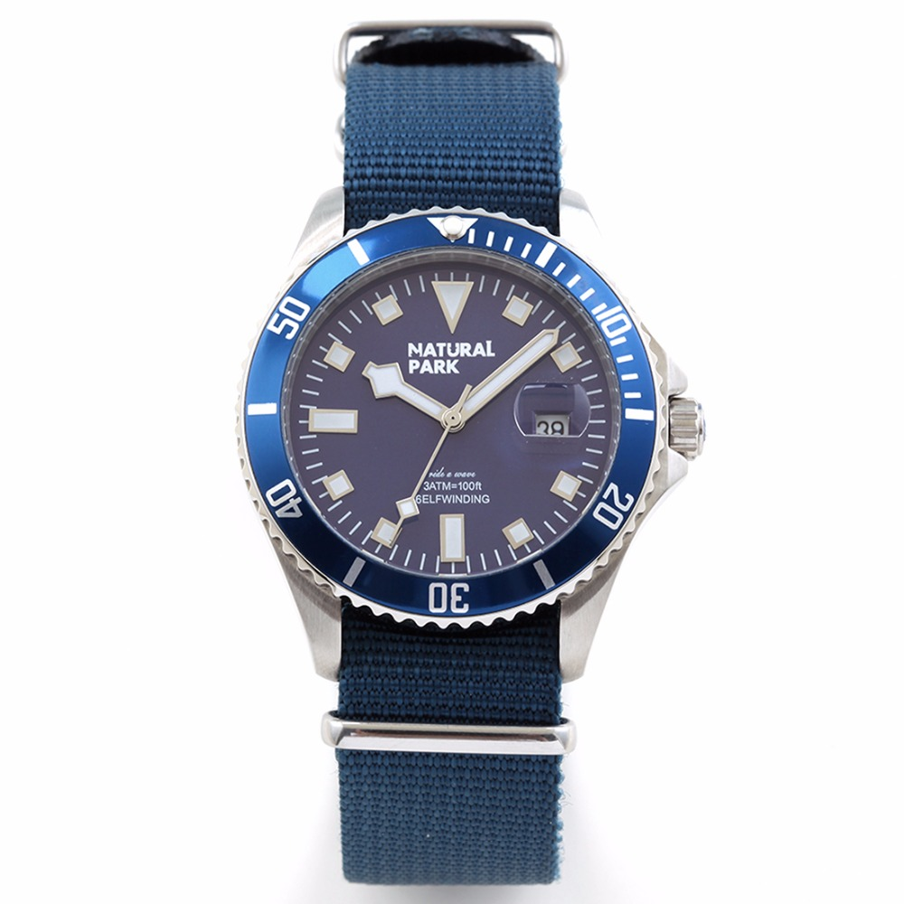 ФОТО Personality with Mens Watches Top Brand Luxury Quartz Casual Wristwatch NATURAL PARK relojes hombre Bule Nylon Strap NP1319-BL