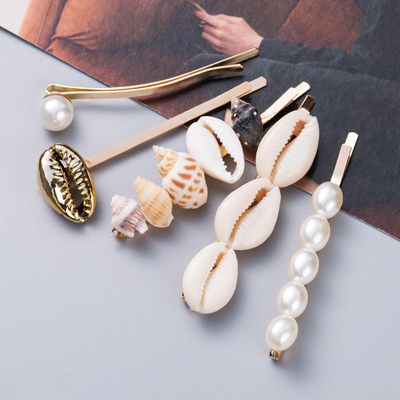 5pcs/set 2019 New Marine Style Metal Gold Shell Conch Pearl Hairpins Hair Clips For Women Hairgrip Beach Hair Accessories