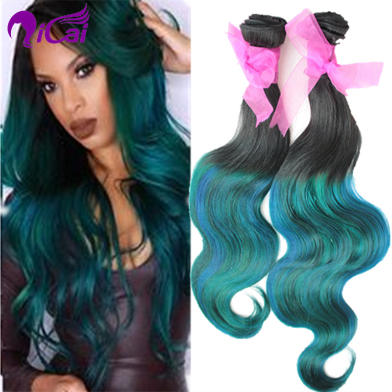 Ombre 2 Tone 1bteal Green Hair Weave Brazilian Virgin Remy Human