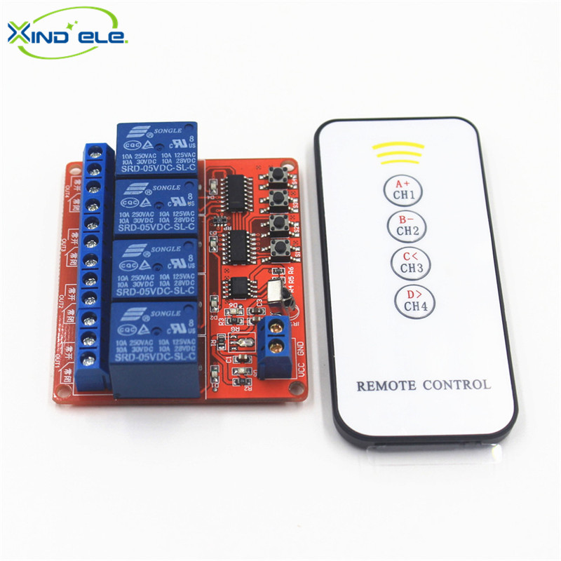 XIND ELE 4 way 5V DC IR Remote Learn Switch Module + 5-key Remoto For Home Automation Light Garage Door #IR05-4LM+PM5# dc 12v led display digital delay timer control switch module plc automation new