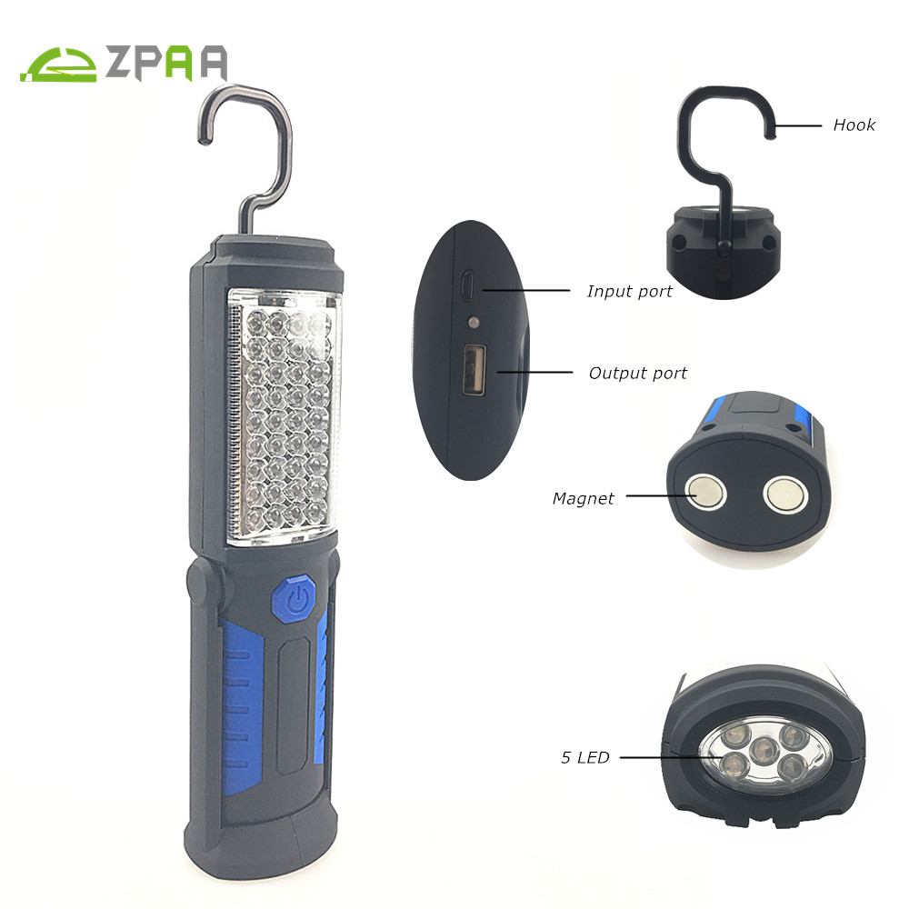 Rechargeable USB LED Flashlight Work Light Lamp 41LEDs Magnetic Torch Support Stand Swivel Hook for Camping Workshop Car Repair 4 in 1 led flashlight magnetic work light rechargeable stand hanging swivel hook rotation power bank torch lamp mfbs