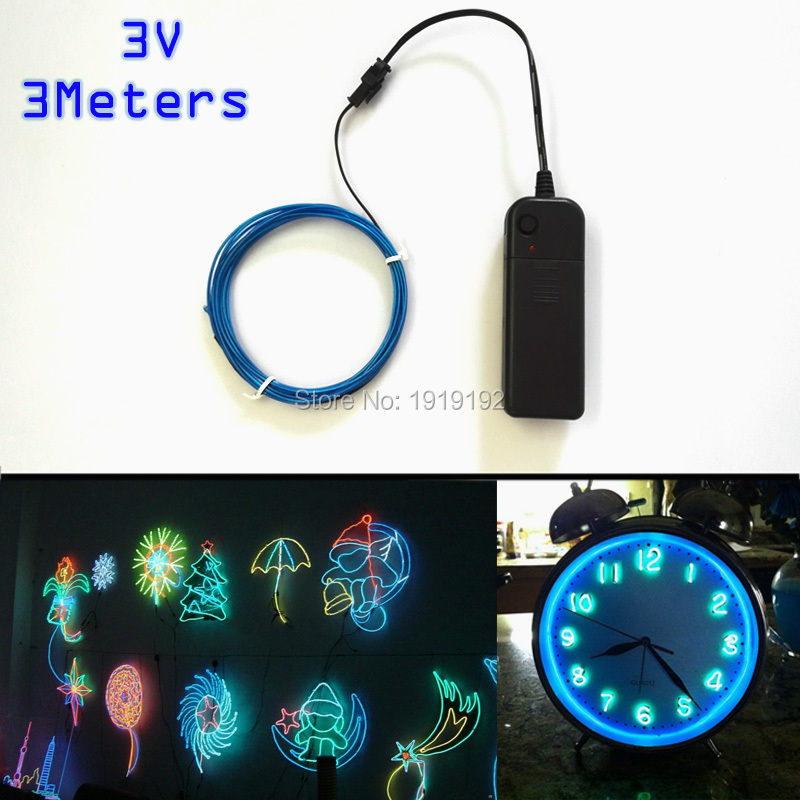 DC 3V 1.3mm 3Meters Electroluminescent neon flexible light glow EL ...