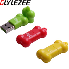 Glylezee USB Card Reader Little Bone Shape MicroSD Card T-Flash Memory Card Up to 64GB 3 Colors