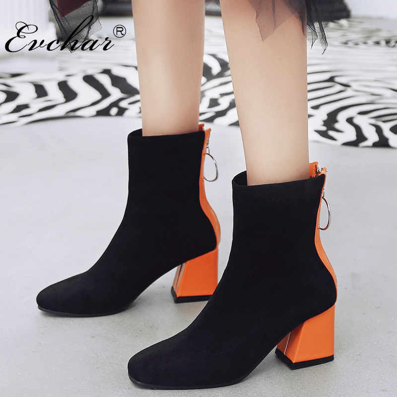 EVCHAR new fashion Women Boots pu Leather riding Pointed Toe zipper High Heel Mixed Color Ankle Boots shoes large size 32-48 2018 new arrival genuine leather tassel shoes women super high heel sollid large size zipper pointed toe elegant ankle boots l53