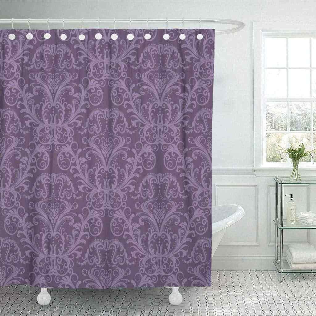 Shower Curtain With Hooks Pink Damask Purple Floral Vintage
