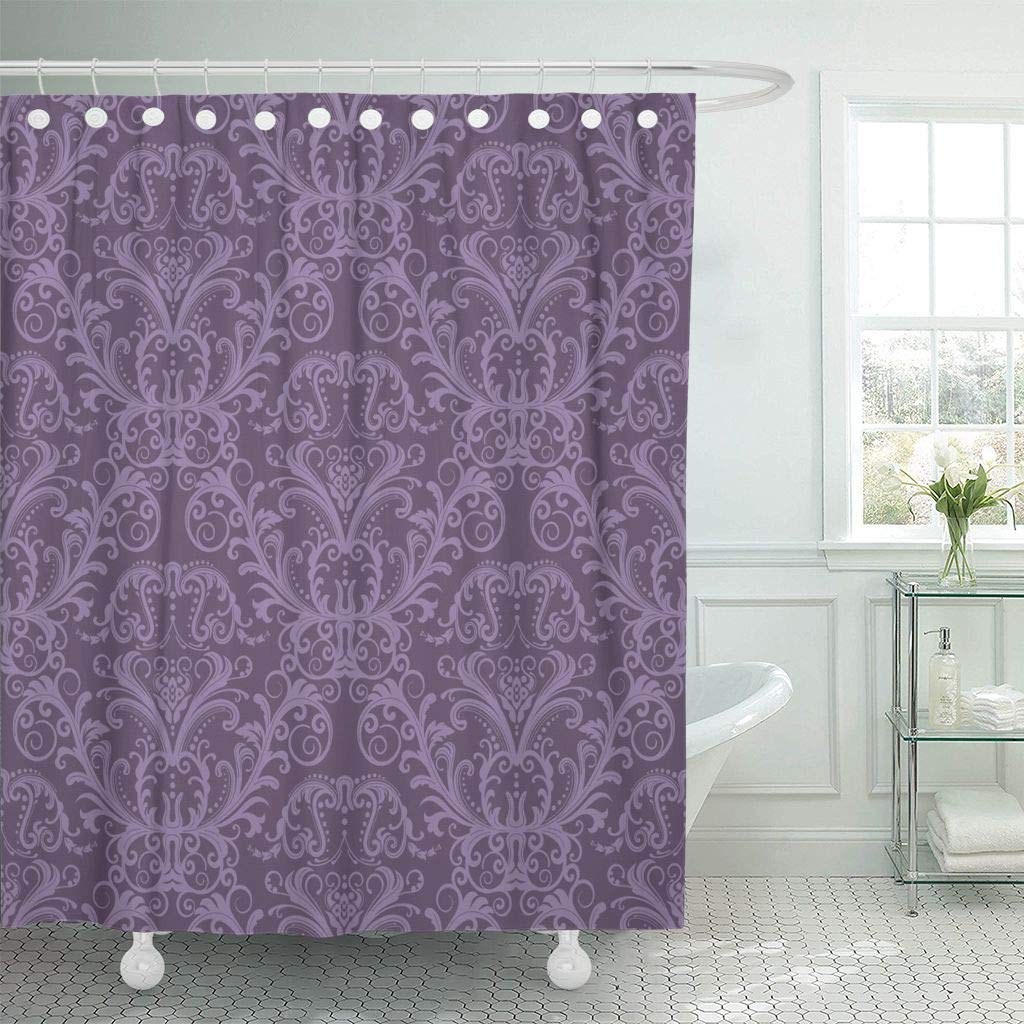 Shower Curtain With Hooks Pink Damask Purple Floral Vintage Classy Lavender Luxury Victorian Wall Ornate Decorative Bathroom Shower Curtains Aliexpress
