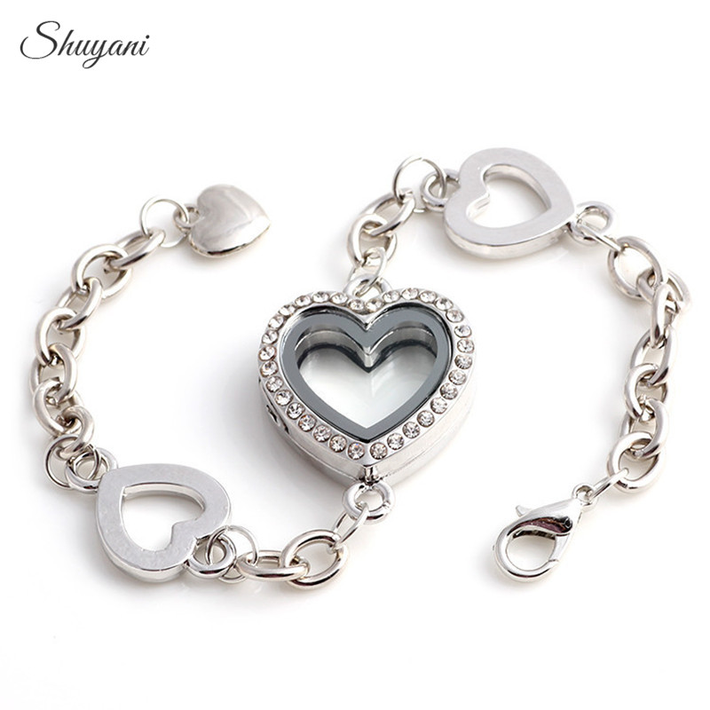 Shuyani 10pcs / lot Opendable Memory drijvende medaillon armband met strass glas hart medaillon armband voor vrouwen