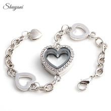 10pcs/lot Free shipping Floating Locket Bracelet with Rhinestone Glass Heart Locket Bracelet for Women