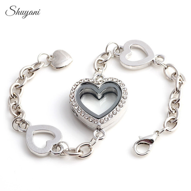 Shuyani 10pcs Lot Opendable Memory Floating Locket Bracelet With Rhinestone Gl Heart For