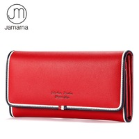 Jamarna Women Wallet Genuine Leather Wallet female Long Clutch Purse Card Coin Holder Classic Red White And Blue Phone Wallet