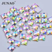 JUNAO 8 10 12 14 16 millimetri di Cristallo AB di Strass Quadrato Applique Flatback Acrilico Strass Diamond Non Hotfix Pietre di Cristallo artigianato