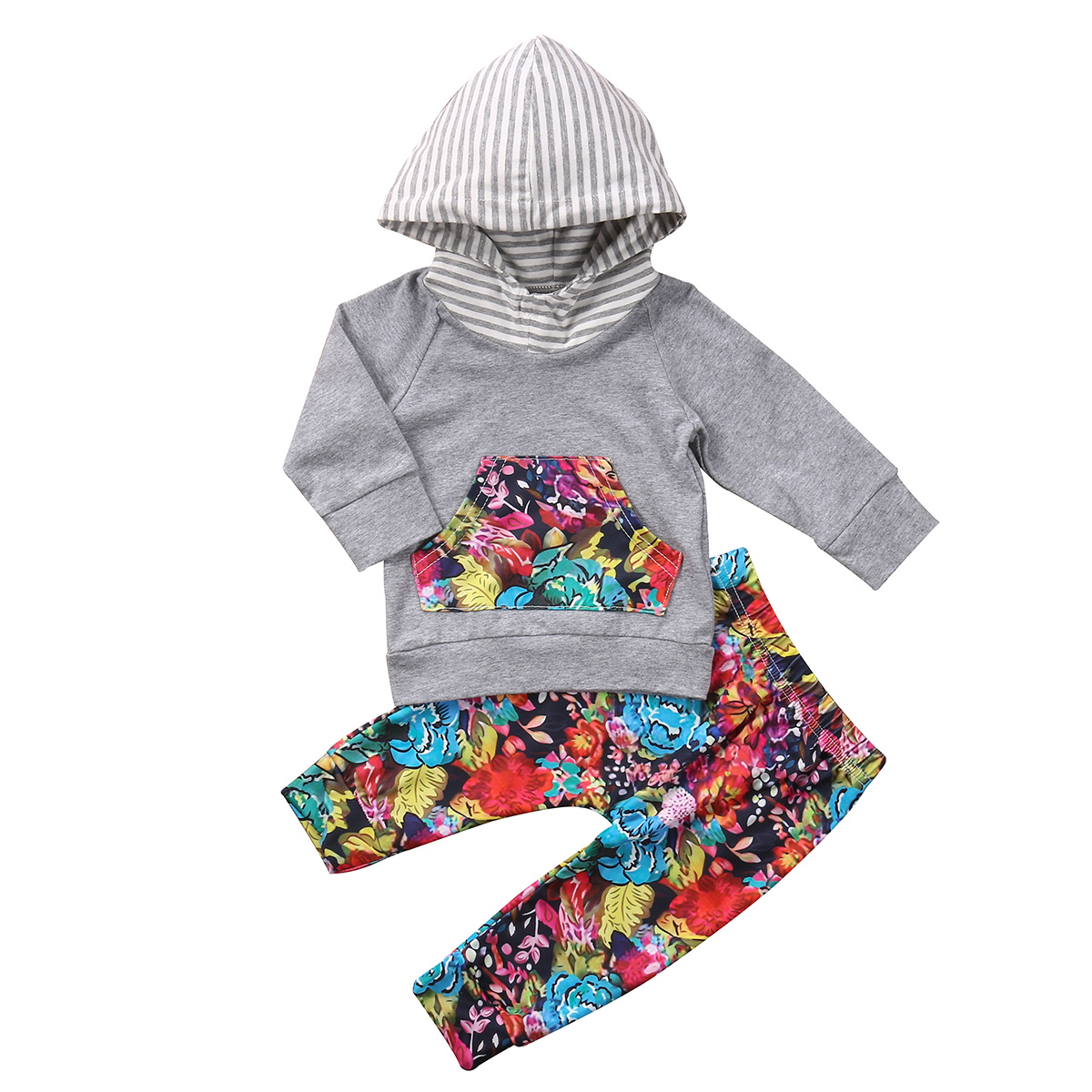 Autumn 2pcs Baby Girls Infant Clothing Set Hooded Sweatshirt Tops Long Sleeve Tops Flower Pants Outfits Clothes Set
