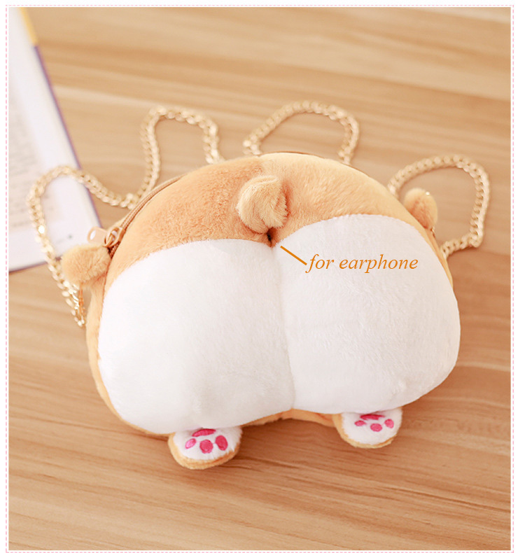 1pcs Novelty Corgi Butt CrossBody Bag Cute Creative Pet Dog Sexy Bottom Coin Bag  Stuffed Plush Animal Toy for Kids Gift (8)