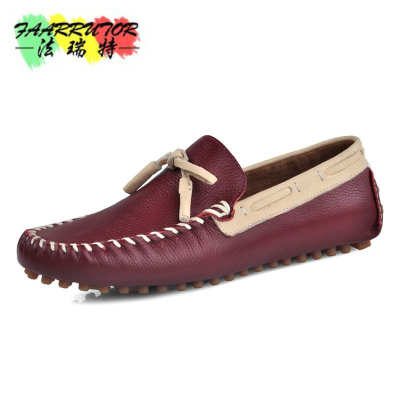2017 Men's Casual Slip-on Moccasins Genuine Loafer Men Boat Shoes Comfortable Driver Shoes Fat Leather Shoe Men's Fashion Shoes branded men s penny loafes casual men s full grain leather emboss crocodile boat shoes slip on breathable moccasin driving shoes