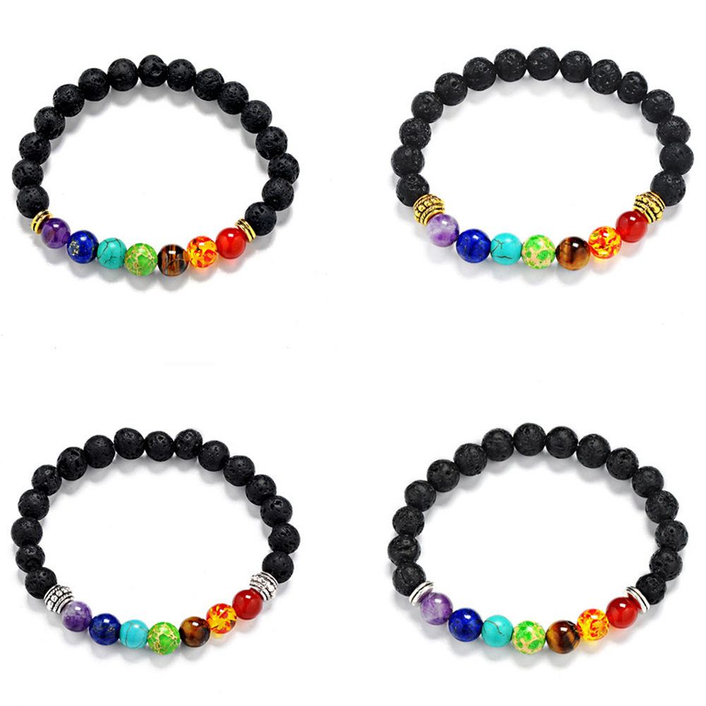 Muti-color woman Mens Bracelets Black Lava 7 Chakra Healing Balance Beads Bracelet For Women Reiki Prayer Yoga Bracelet Stones