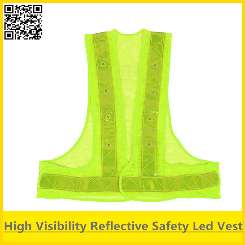 SFvest High visibility fluorescent yellow Traffic safety led vest reflective vest with led lights free shipping