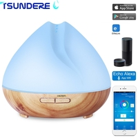 TSUNDERE L 400ml Wifi Ultrasonic Humidifier Smart Essential Oil Diffuser Vaporizer Compatible With Alexa 7 LED