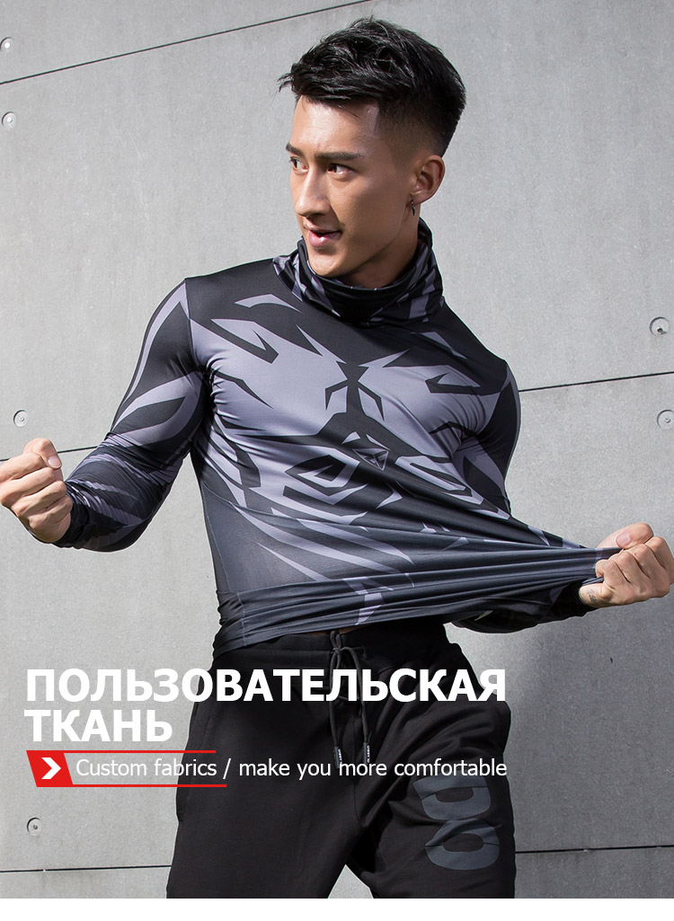 ZRCE Mens Jogging Training Cycling Running Sport Long Sleeve Tight T-shirt Bodybuilding Fitness Compression Sportswear