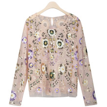 Spring Women Shirts Luxuary Vintage Embroidered Floral Sequin Bead Pearl Embellished Mesh Long Sleeve Applique Blouse Top vintage faux pearl embellished body chain for women