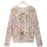 Spring Women Shirts Luxuary Vintage Embroidered Floral Sequin Bead Pearl Embellished Mesh Long Sleeve Applique Blouse Top