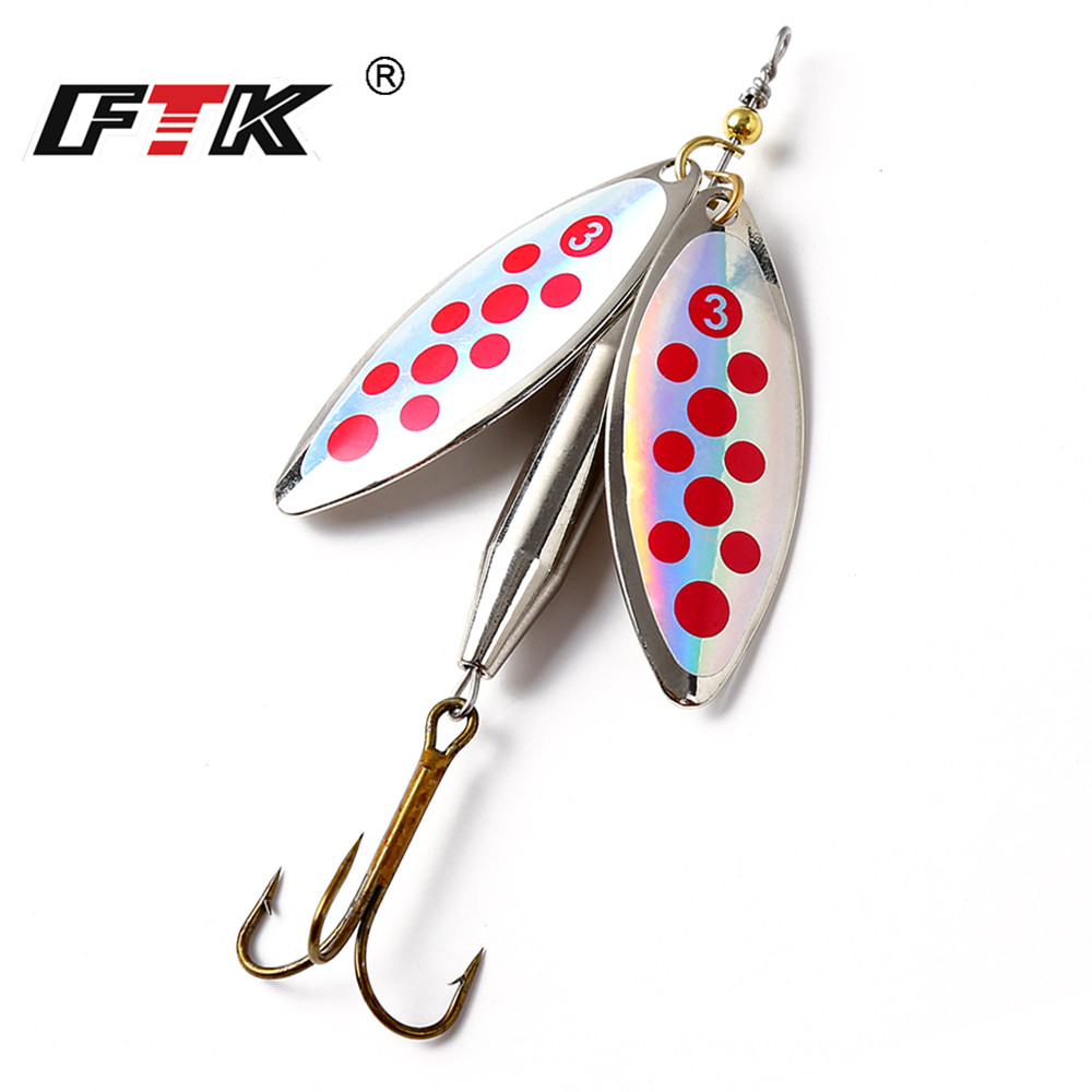 FTK 1PC Double Spinner Mepps Long Cast Coloful Bait Fishing Lures Pesca Spinner Sequin Paillette carp