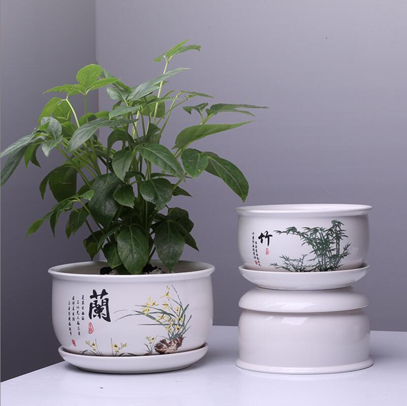 Ceramic Flower Pots With Tray Wholesale Large Nunber