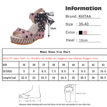 Women Sandals Dot Bowknot Design Platform Wedge Female Casual High Increas Shoes Ladies Fashion Ankle Strap Open Toe Sandals