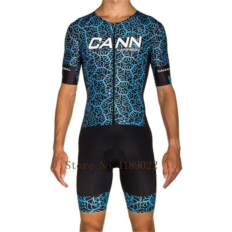 Slim Zomer Triathlon Schaatspak Mannen Korte Mouw Fietsen Kleding 9d Gel Pad Mtb Bike Body Pak Blauw Skinsuits Ropa Ciclismo Hombre