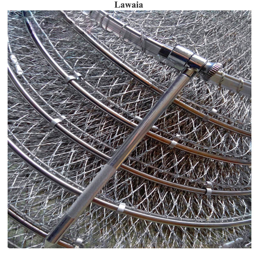 Lawaia Folding Fishing Net Cage Handmade Braided Line Fish Care Quick drying Net Cages Stainless Steel Double Rings Fishing Gear