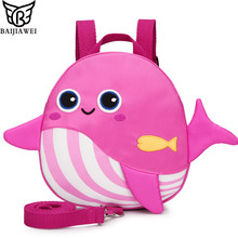 BAIJIAWEI Cute Cartoon Whale Backpack New Anti-lost Baby Bag Early Childhood Education School Bag Kindergarten Kids Snacks Bag(China)