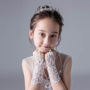 Lace and diamond-encrusted children's dress gloves and fingerless girl's dance gloves