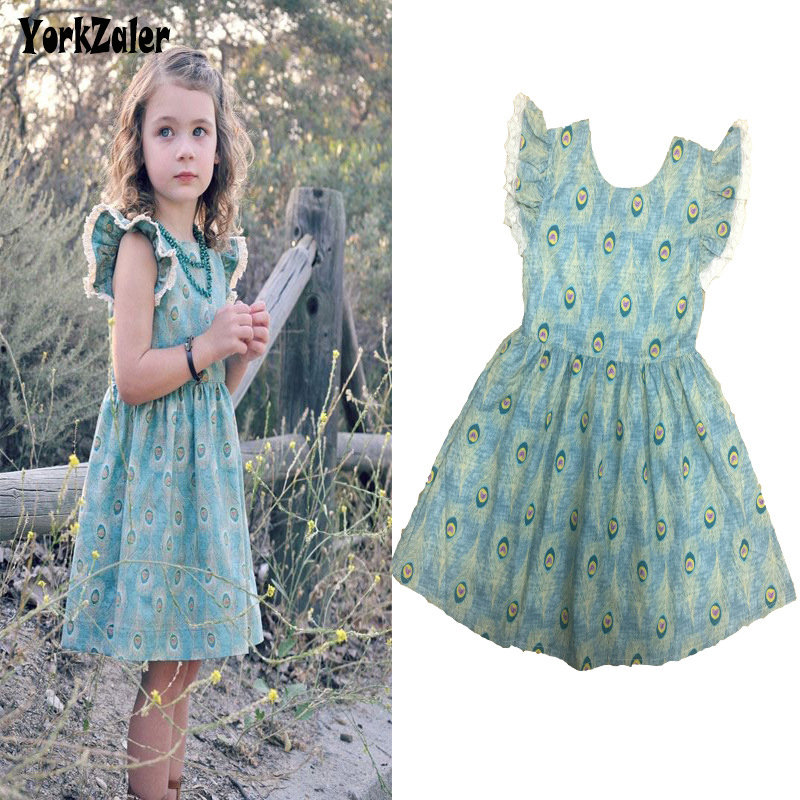 Yorkzaler Summer Kids Dress For Girl 2018 Casual Printed Peacock Feather Baby Princess Dresses Todder Infant Wedding Party Dress