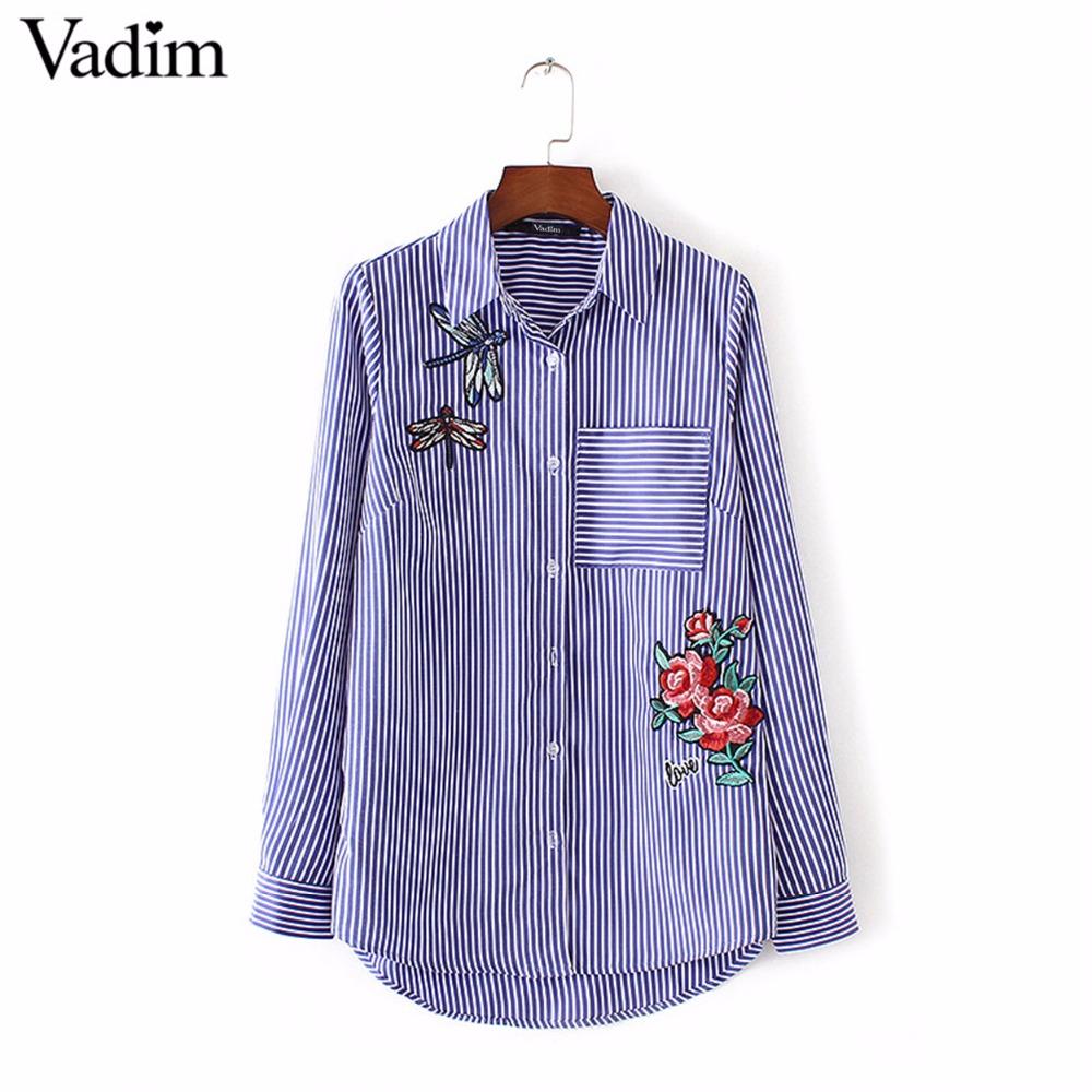 HTB1cd3zRVXXXXXiapXXq6xXFXXX9 - Women floral dragonfly embroidery full cotton striped blouse long shirt