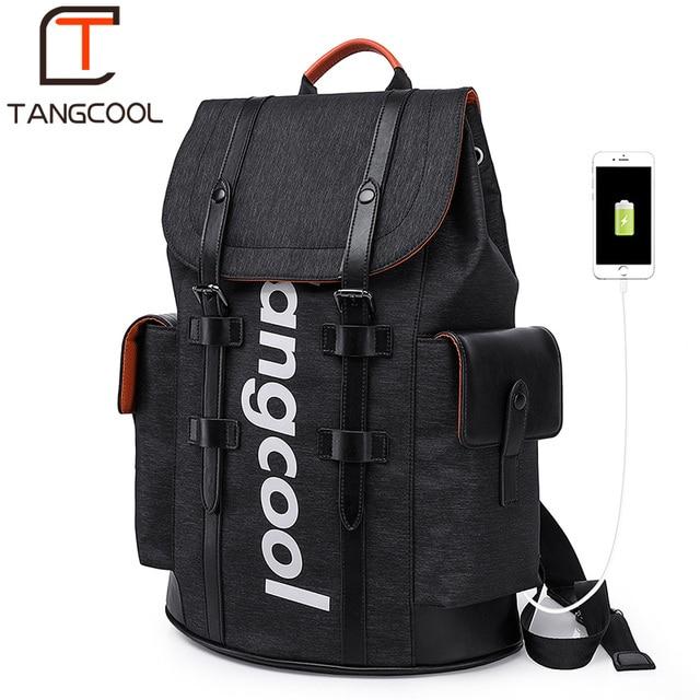 Tangcool Men's Backpack Fashion Multifunction USB Charging Men 16.5 inch Laptop Backpacks College Student School Bag