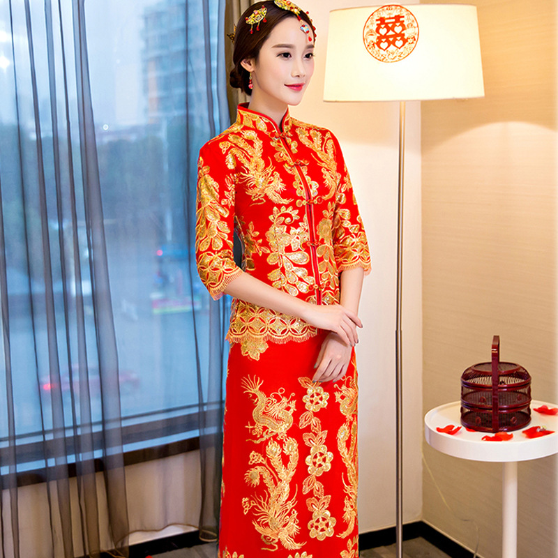 New Arrival Gold Dragon Phoenix Cheongsam Traditional Half Sleeve Noble Wedding Dress Classic Full Length Qipao Toast Clothing