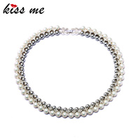 Noble Women Jewelry 2015 New Fashion Double Layer Created Pearls Choker Necklace Factory Wholesale