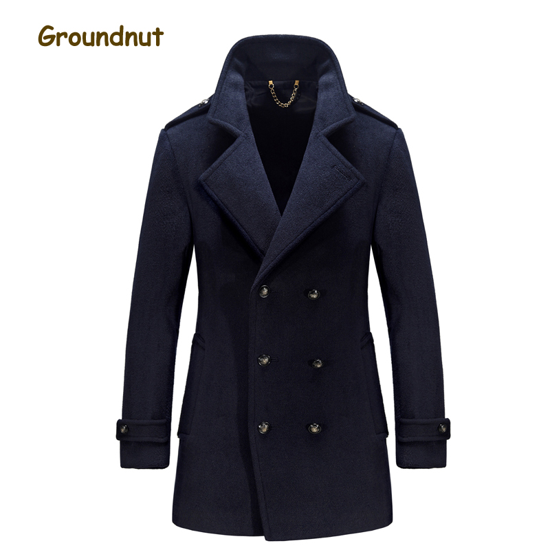 Groundnut 2017 New Winter Trench Coat Men Thick Wool Coats Slim Fit Double Breasted Outerwear Warm Man Casual Jacket Overcoat 2018 new fashion suede lamb wool women coats double breasted warm solid thick long overcoat casual winter cotton jackets female