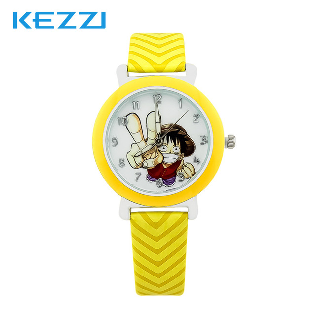 Lovely Watch Christmas Gifts for Children's Wrist Watch Analog Quartz Watches Kids Watches One Piece Cartoon Yellow Leather Band