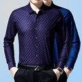 2016 de Newmen solapa Solo pecho Imprimir camisetas de manga larga camisa camisa de Los Hombres de negocios de ocio de lana padre desgaste