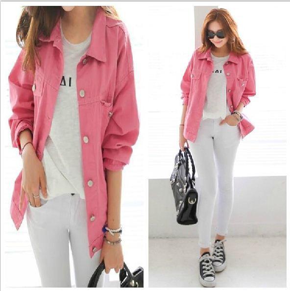 Women Jackets Tops Spandex Denim Jacket Jeans Casual Cotton Girls
