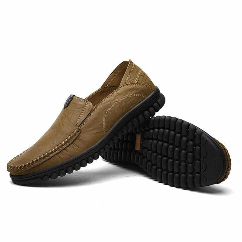 Chaussures casual homme Plus: 38-44 45 chaussures de conduite déodorantes hommes en cuir véritable sans lacet hommes chaussures d'extérieur à fond souple Zapatos
